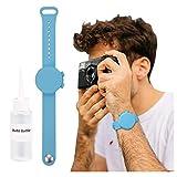 MINISTAR Juego de 2 pulseras con dispensadores para gel de manos, portátiles, de silicona, para niños, hombres y mujeres, con bote de punta de aguja recargable