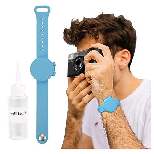 Confezione da 2 erogatori di liquido, a forma di orologi da polso, in silicone, ricaricabili, portatili, per bambini, uomini e donne, con flacone di ricarica con beccuccio