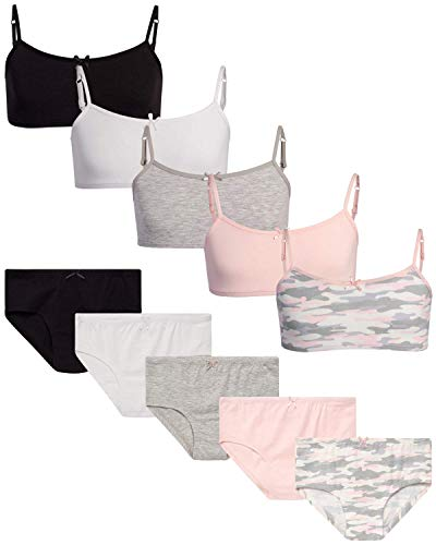 Rene Rofe Girls' Training Bra Set – Crop Cami Bralette and Hipster Underwear (10 Piece) Camo, Medium/(7-8)