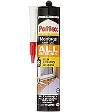 Pattex Montagelijm alle materialen, sterk hechtende alleslijm, krachtlijm voor binnen en buiten, lijm voor zuigende en niet-absorberende materialen, 1 x 450 g