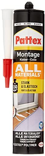 Pattex 1828610 Montagekleber All Materials, stark haftender Alleskleber, Kraftkleber für innen, außen, Kleber für saugende und nichtsaugende Materialien, 1 x 450g