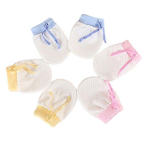 ZGJ ZGJ Affe 3 Paare Baby Handschuhe gegen Kratzen - Sommer Dünne,Atmungsaktivem Mesh,Einstellbarer,No Scratch Fäustlinge für Neugeborene