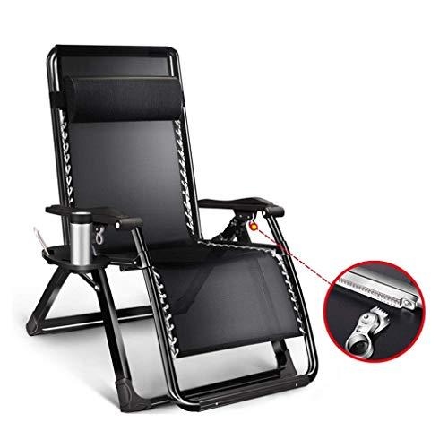 JDK Tumbona Plegable Zero Gravity, reclinable Sillas reclinables Impermeable Chaise Lounge Tumbonas Metal para jardín Muebles de Patio Oficina al Aire Libre, Negro, (Color: Negro)
