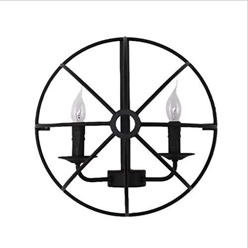 Jiji wandlamp, Globe, Vintage, E27, kooi, wandlamp, ijzer, zwart, wand, licht, bar, kamer, retro, binnenverlichting, leeslamp, LED, wind, industrieel