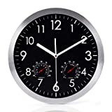 WOOPHEN 12 Inch Silent Non Ticking Wall Clock with Temperature&Humidity (Black)