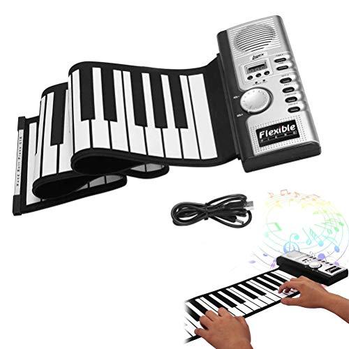 1 x 61 Tasten elektronisches aufrollbares Klavier, digitale Handroll-Klavier MIDI weiche Tasten für Kinder und Anfänger