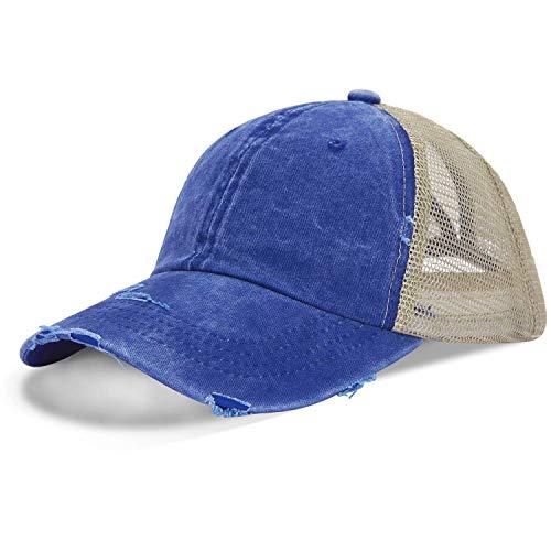 LIVACASA Basecap Damen Mesh Pferdeschwanz Baseball Cap Hut Atmungsaktiv Sonnenhut Sonnenschutz Mädchen Kappe Schirmmütze Einheitsgröße Kopfumfang 52-61cm Baseballkappe für Sport Reise Draußen Blau