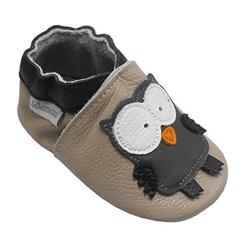 Bemesu Baby Krabbelschuhe Lauflernschuhe Lederpuschen Kinder Hausschuhe aus weichem Leder für Mädchen und Jungen Beige Eule (L, EU 21 - 22)