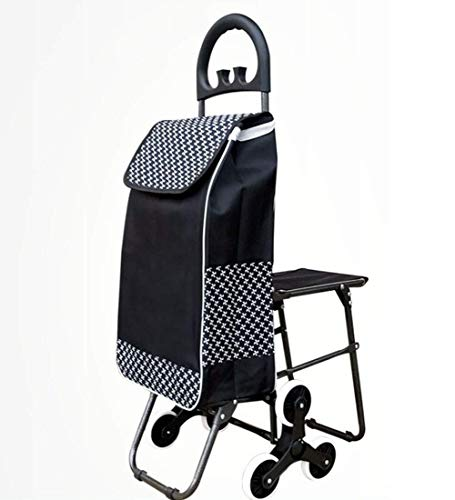 BGTRRYHY Elderly Handcart Stair Climber Shopping Trolley With Hook Handle Seat Removable Waterproof Canvas Bag Luggage Bags