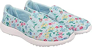 KazarMax Women's Blue Floral Slipon's Walking Sneakers (Washable with Quick Dry Fabric) (Made in India)