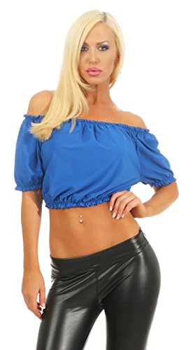 Fashion4Young 5603 Damen Bluse Bauchfrei Carmenbluse Kurzarm Damenbluse Schulterfrei Off-Shoulder (Royalblau, 34-36)