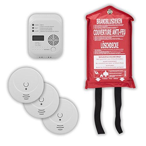 Smartwares brandwerende set bestaande uit 3 rookmelders 1 x CO-melder 1 x branddeken, 10.025.73