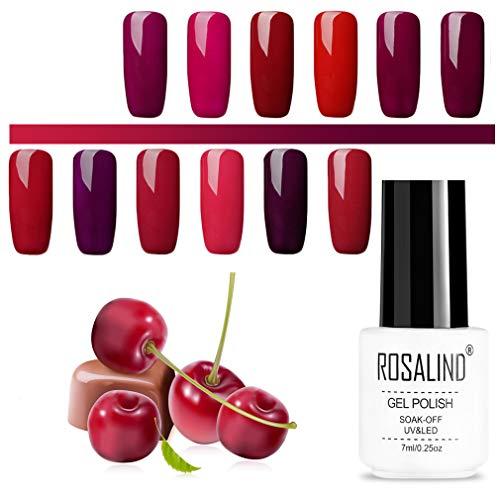 ROSALIND Gel Nagellack Set Rote Reihe Gellack UV Mehrfarbig Hochwertiger Base und Überlack Nail...