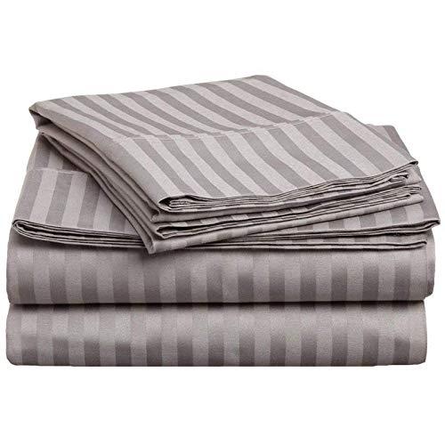 Tula Linen Juego de sábanas de 1200 Hilos, 4 Piezas, Rayas Gris Plata, tamaño Euro King IKEA, tamaño de Bolsillo, 30 cm, 100% algodón Egipcio