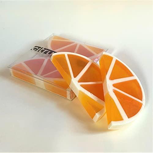 Jabón artesanal con aceites esenciales, jabón rodaja de naranja, jabón decorativo color naranja