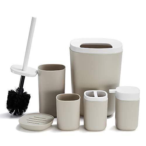DUFU Juego de 6 Accesorios de Baño de Plástico con Soporte para Cepillo de Dientes Taza de Plástico/Taza de Dientes Jabonera Botellas de Loción Escobilla de Baño Cubo de Basura (Beige)