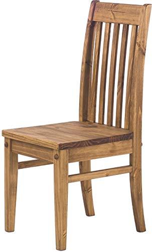 Brasilmöbel 2X Esszimmerstuhl Classico Brasil - Holzstuhl Klassik Pinie Massivholz Echtholz - Variante & Farbe wählbar - Stuhl Holz Wohnzimmerstuhl Lehnenstuhl Lehne Küchenstuhl Landhaus