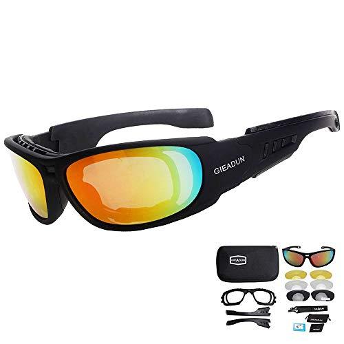 HTTOAR Gafas de Seguridad Para El Sol de hípica con 4 lente de conducción para Motocicleta Bicicleta Actividad al aire libre Deportes Caza