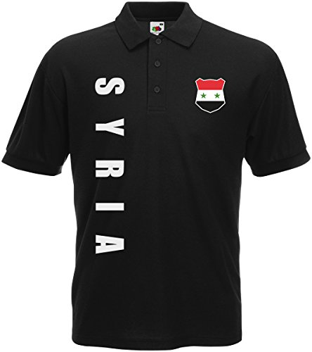 Syrien Syria Polo-Shirt Trikot Wunschname Wunschnummer (Schwarz, L)