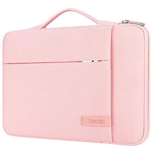 Lacdo 360° Protective Laptop Sleeve Case for 13 inch New MacBook Pro A2338 M1 A2251 A2289 A2159 A1989 A1706 A1708 | 13 inch New MacBook Air A2337 M1 A2179 A1932 | 12.9' New iPad Pro Computer Bag, Pink