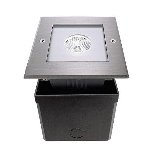 Sol LED COB Spot extérieur encastrable carré symétrique, AC 220–240 V/50–60 Hz, 6 W, en acier inoxydable, 25 °, IP67, 6000 K Classe d'efficacité énergétique : A +