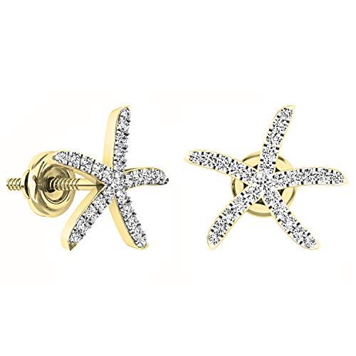 Dazzlingrock Collection 0.25 Carat (ctw) Round White Diamond Ladies Starfish Earrings 1/4 CT, 14K Yellow Gold
