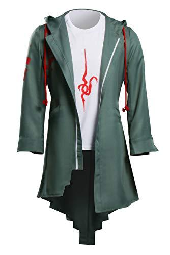 NUWIND Danganronpa Nagito Komaeda - Disfraz para hombre, disfraz de Halloween, carnaval y anime, color verde con capucha y dobladillo irregular + camiseta