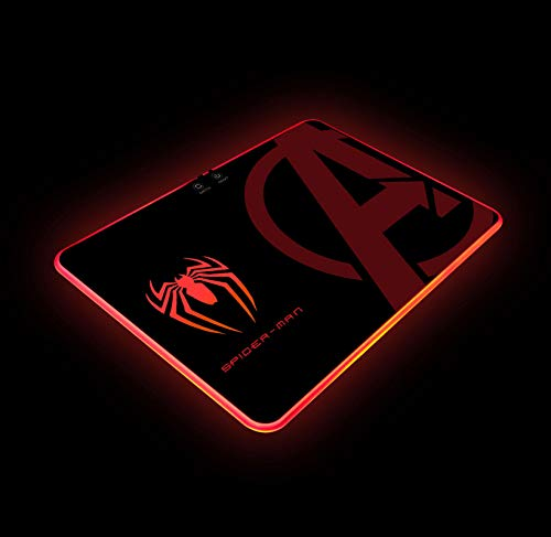 Spider Man RGB Gaming Mouse Pad Colorful LED Atmosphere Light Hard Surface with Personalized Luminous Pattern Gamer Gifts W14 X H10 (350 X 250 mm)