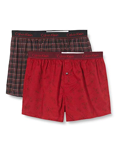 Calvin Klein Unisex Boxer Slim 2pk Unterwäsche, Winter Streifen/Garten Plaid, M
