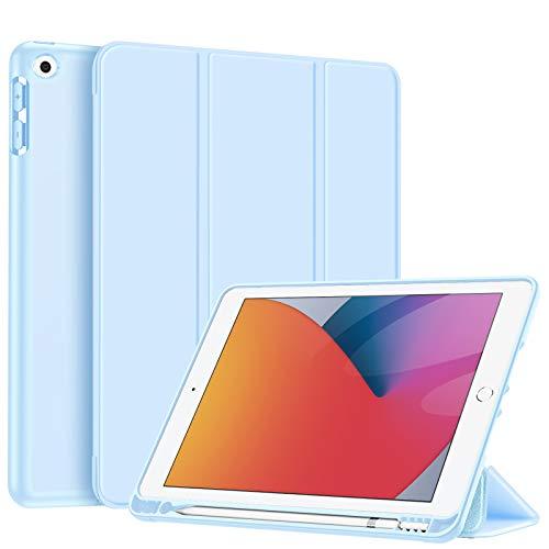 Fintie Hülle für iPad 8. Generation (2020) / 7. Gen (2019) 10.2 Zoll - Superleicht Soft TPU Rückseite Abdeckung Schutzhülle mit eingebautem Pencil Halter, Auto Sleep/Wake, Himmelblau
