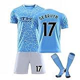 DHRBK Magliette da Calcio Suit De Bruyne # 17 2020/21 T-Shirt da Calcio per casa e Trasferta Pantaloncini con calzino da Calcio per Bambini Gioco per Adulti
