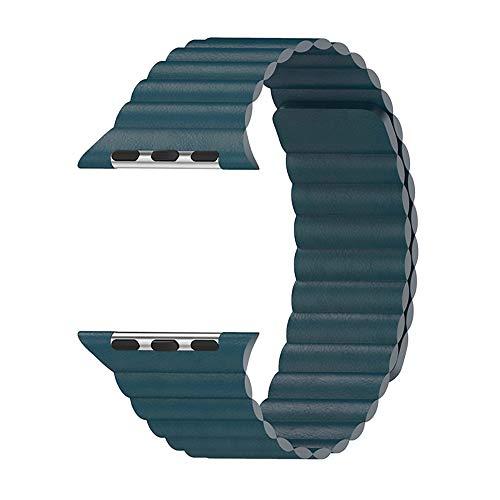 WAY-KE Correa De Cuero Ajustable con Sistema De Cierre Magnético para La Serie Iwatch 5/4/3/2/1 Compatible con Apple Watch Band 44Mm 42Mm 40Mm 38Mm,Verde,44MM