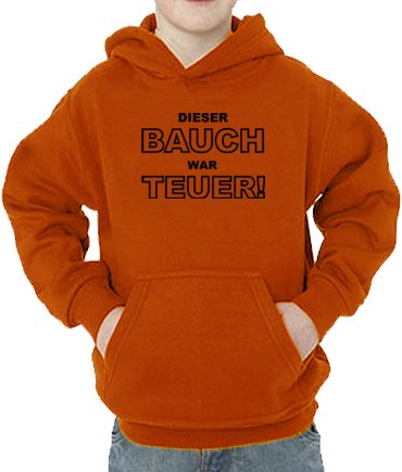 Touchlines Sweatshirt Dieser Bauch War teuer, Sweat-Shirt Mixte bébé, Orange, 128 cm