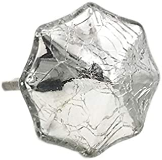 Octagon Mercury Glass Distressed Chrome Dresser Knob, Cabinet Pull - Pack of 10
