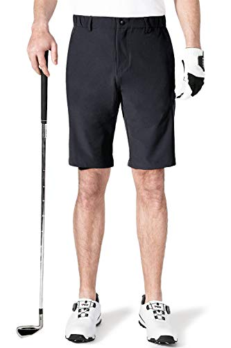 AOLI RAY Herren Golfshorts wasserdichte Dehnbar Leichte Kurze Hose Golf Shorts mit 4 Taschen Schwarz Taille:32