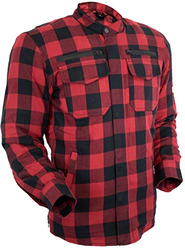 MDM - Camisa de moto Kevlar para hombre, con protectores en diferentes colores A cuadros rojos. M