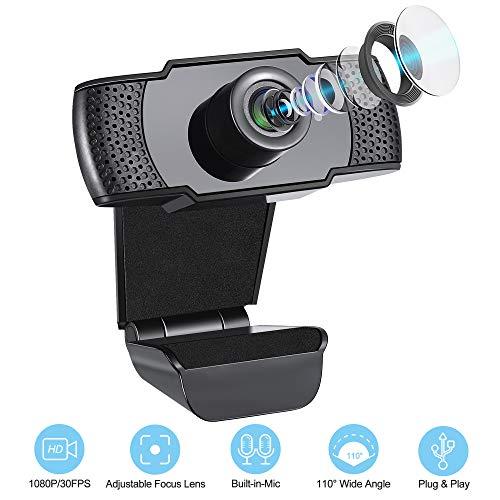 IVSO Webcam con Micrófono, Webcam Full HD 1080P Ángulo de Visión Amplio de 110 Grados, Cámara USB para Computadora Plug y Play para Conferencia Estudiando Videollamada Grabación