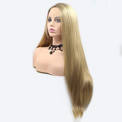 Scra AC Peluca brillante amarillo recto pelo largo partido peluca señoras hecho a mano encaje europeo y peluca conjunto peluca