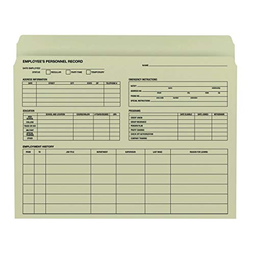 Price comparison product image Smead Employee Record File Folder,  Straight-Cut Tab,  Letter Size,  Moss,  20 per Pack (77000)