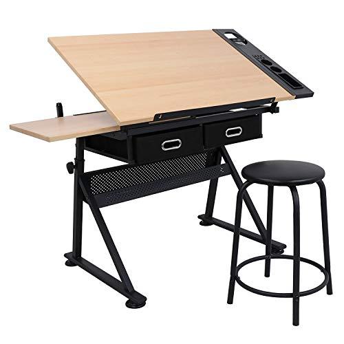 D4P Display4top Verstellbarer kippbarer Zeichenarbeitsplatz Station Konstruktionszeichentisch (mit Zwei Schubladen und einem Hocker)