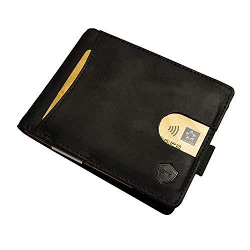 SECUREFY SECUREFY® fold - TÜV zertifiziertes RFID Slim Wallet - Kreditkartenetui aus hochwertigem Leder mit Geldklammer für bis zu 10 Karten - Soft Touch Vintage Leder - Schwarz