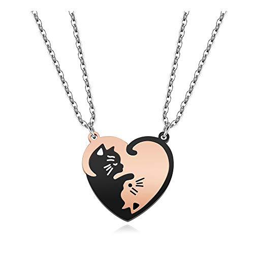 Jovivi - Collar de amistad para parejas, puzle, gato, corazón separable, extraíble, color blanco, dorado y negro