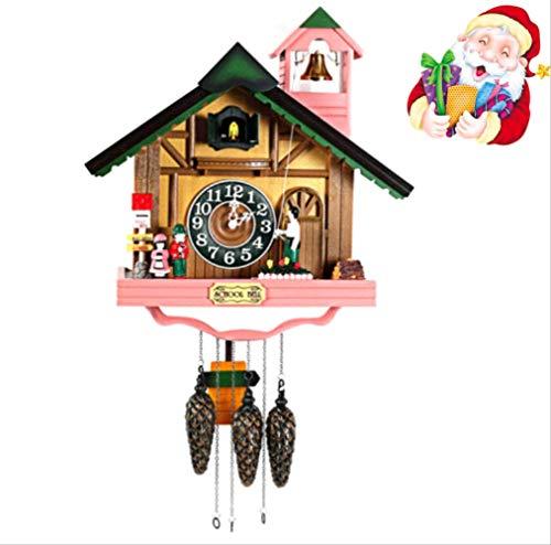 tytlclock Reloj De Pared con Forma De Casa De Moda, Reloj De Cuco Rústico, Reloj Y Reloj De Tiempo De Campana De Música con Conmutación De Fotos, para El Nuevo Hogar Decorativo De Navidad