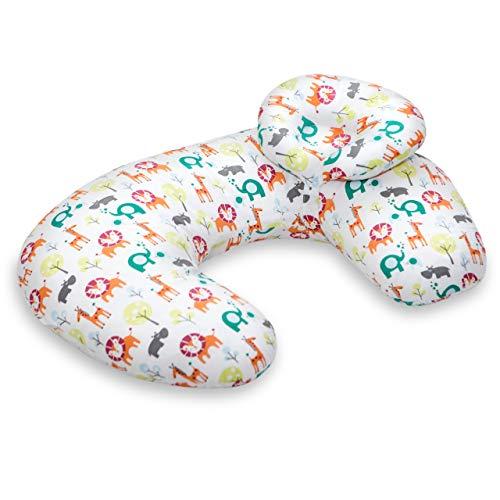 Vitabo weiches Stillkissen mit abnehmbarem Kopfkissen | ergonomisches Kissen zum Stillen | flexibles Stillkissen zum Anlegen | Nackenhörnchen | 55x40 cm (Weiß/Bunt/Zoo)