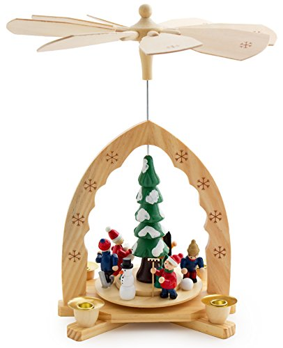 BRUBAKER Christmas Pyramid 12 Inches Nativity Play - Christmas Scene 'Under The Christmas Tree' - Handpainted Figures - Limited Edition - Designed in Germany
