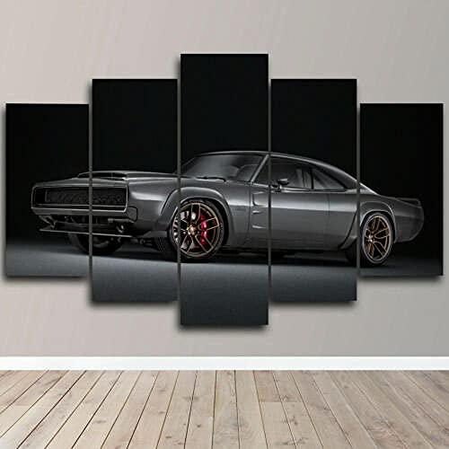 lcyfg Cuadros Salon Super Cargador HD Impreso 5 Piezas Lienzo Arte Pinturas Cuadros Modular Cartel Decoración para El Hogar Marco(100x55cm