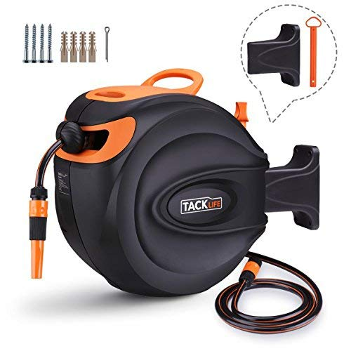 TACKLIFE Auto Hose Reel 30+2M, Wall-Mounted Hose Reel With Wall Bracket and Spray Nozzle, Any Length Lock and Easy Rewind - Ghr2A