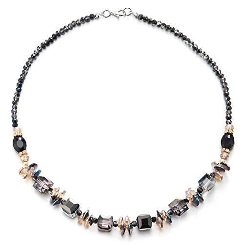 COOLSTEELANDBEYOND Elegante Statement Halsketten Lila Regenbogen Perlen Kette Halsband Halsketten, Abendkleid Bankette Partei