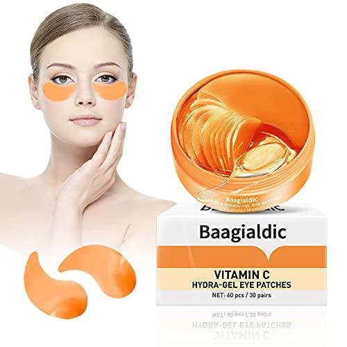Augenpads Gegen Augenringe, Under Eye Mask, Hyaluron Eye Pads mit Vitamin C Hochkonzentriert, Augenpads Gel für Augenringe, Falten, Feine Linien, Tränensäcke, Puffiness, 30 Paar