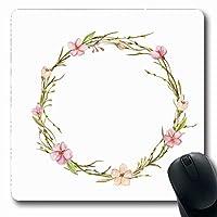 マウスパッドフローラル水彩リース花葉枝手抽象的明るい春咲く花長方形7.9 X 9.5インチ滑り止めゲームマウスパッドラバー長方形マット